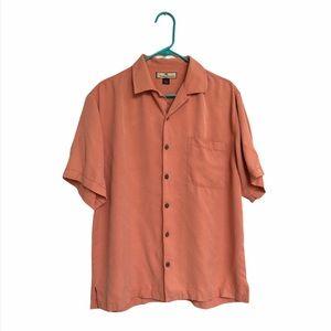Tommy Bahama 100% Silk coral Hawaiian camp shirt